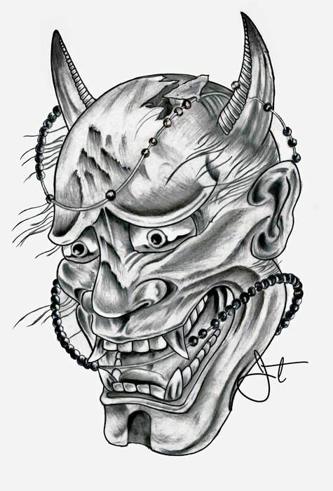 Black-and-white japanese devil head curled with beads tattoo design