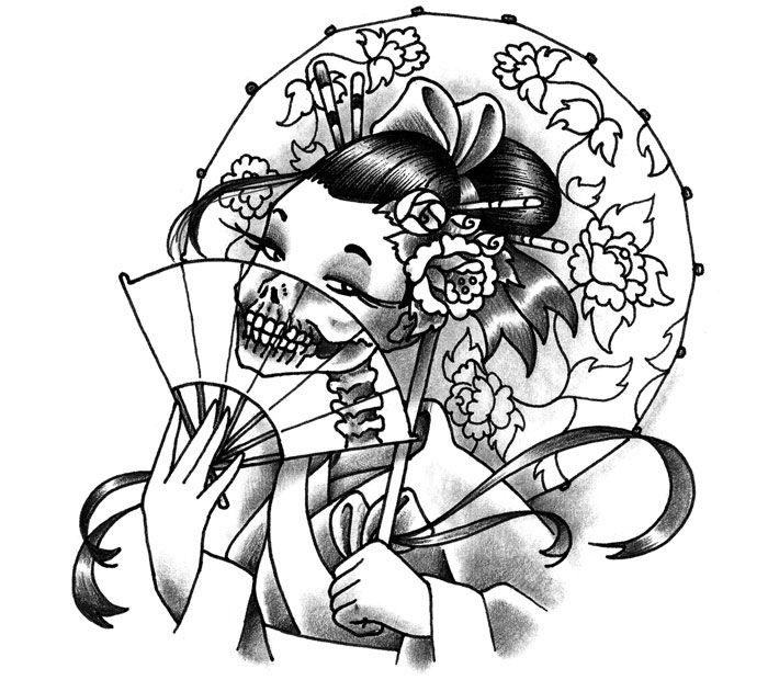 Black And White Japanese Geisha With A Zombie Fan Tattoo Design