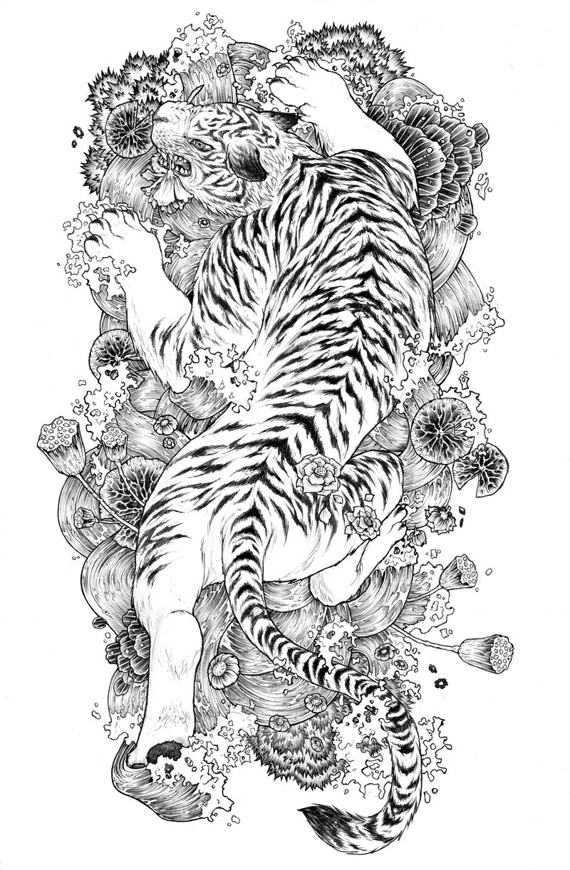 Black-and-white japanese tiger on flowered water background tattoo design