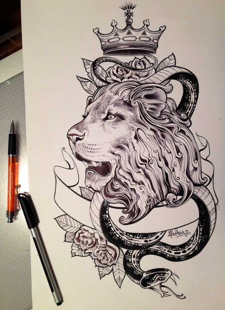 Black And White Lion And Snake With Crown And Ribbon Tattoo Design