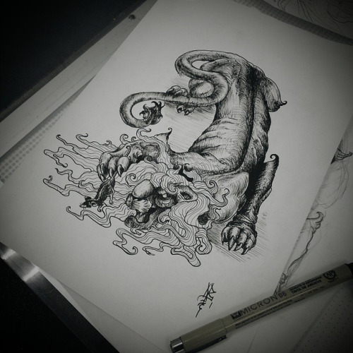 Black and white lion in chinese style tattoo design for Black and white lion tattoo
