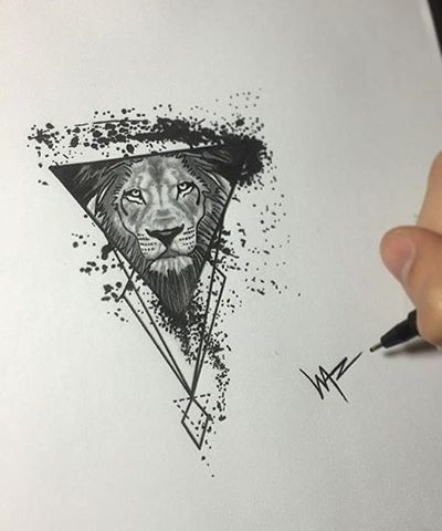 Black-and-white lion muzzle in triangle with splashes tattoo design