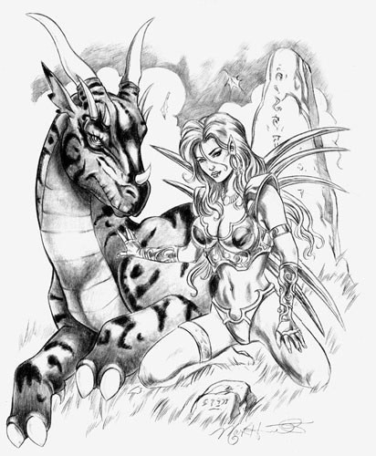Black-and-white lying dragon and pretty girl warrior tattoo design