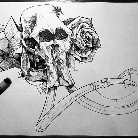 Black-and-white mammoth skull and tiny spider decorated with rose and crystals tattoo design