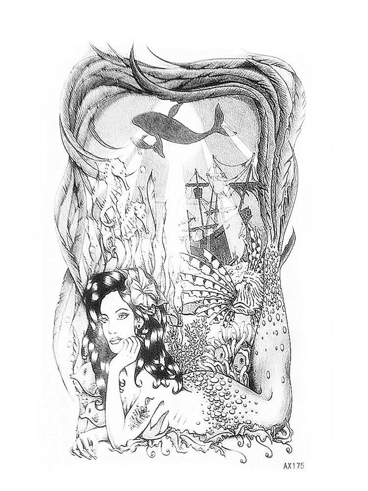 Black-and-white mermaid dreaming on ocean bottom tattoo design