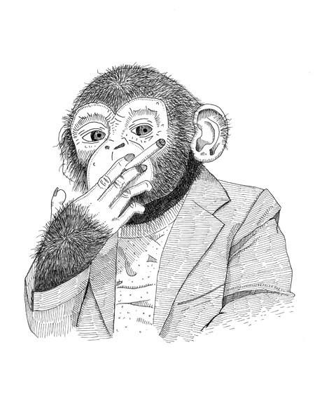 Black-and-white monkey businessman smoking a sigarette tattoo design