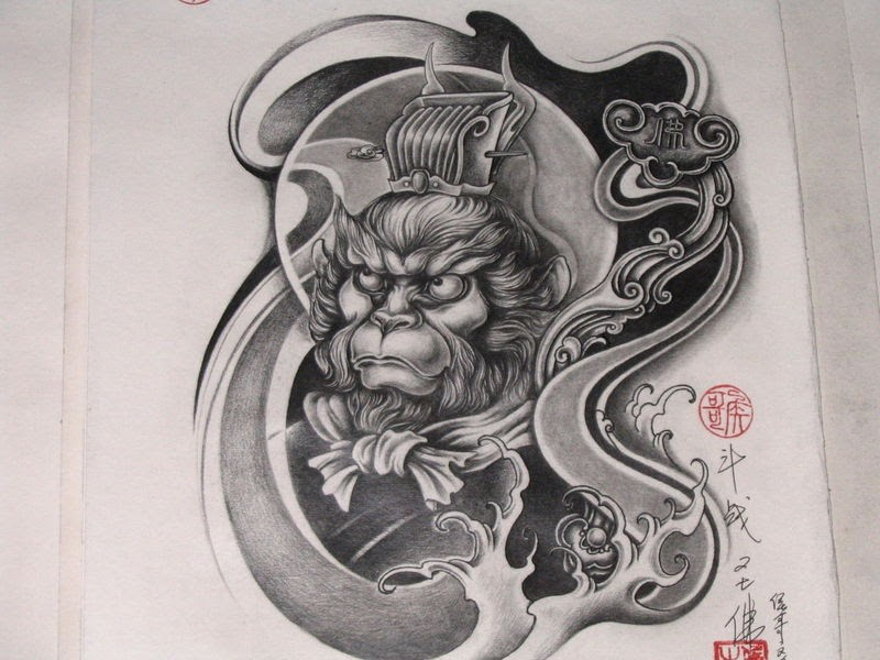 4e3fce977 Black-and-white monkey king in chinese style tattoo design ...