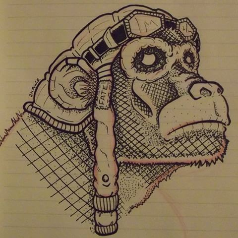 Black-and-white monkey pilot in square pattern tattoo design