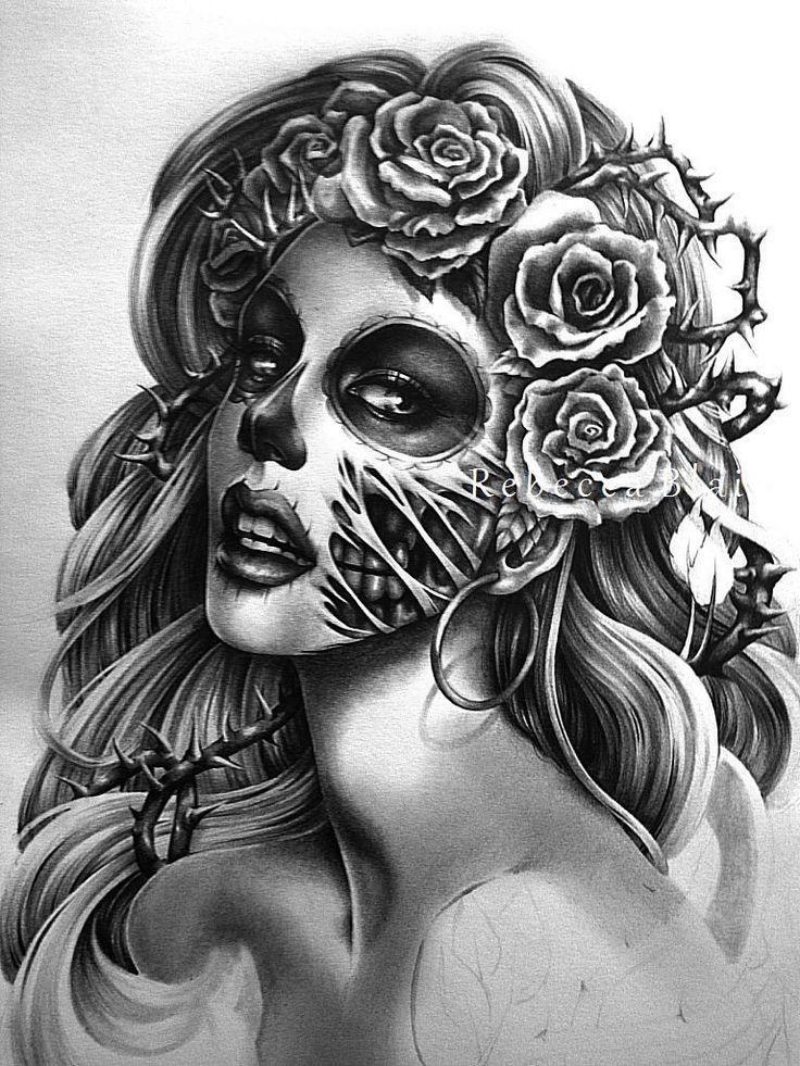 Black-and-white muerte zombie woman portrait tattoo design