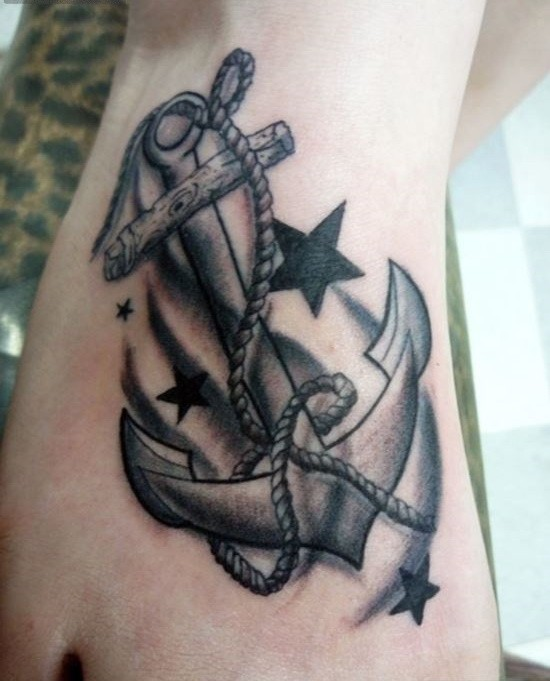 Black-and-white old school anchor with stars tattoo for guys on foot