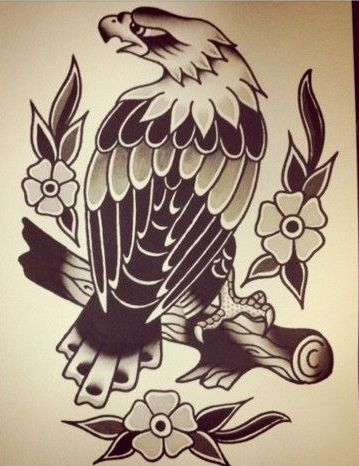 Black-and-white old school eagle sitting on tree branch and little flowers tattoo design