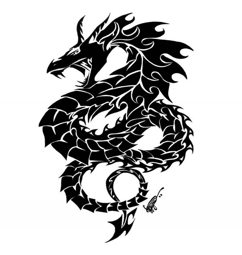 blackandwhite openmouth asian dragon tattoo design