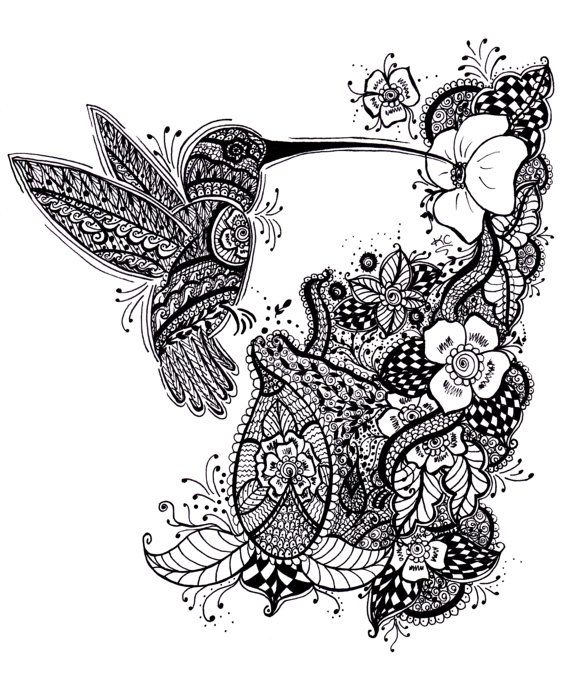 Black and white ornamented hummingbird and flower garden for Garden tattoos designs
