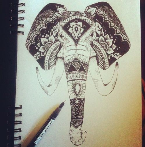 black and white patterned horned elephant head tattoo design. Black Bedroom Furniture Sets. Home Design Ideas