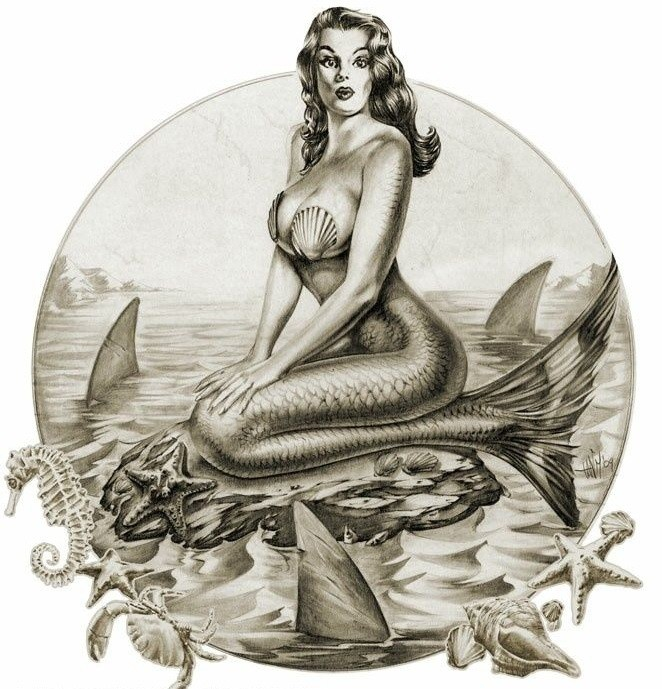 Black-and-white pin up mermaid sitting on rock tattoo design