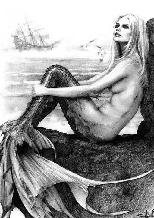 Black-and-white realistic mermaid with harsh scaled tail tattoo design