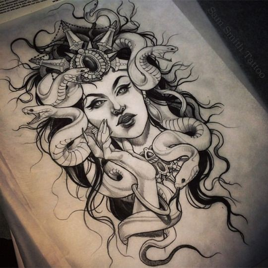 Black-and-white rich-decorated medusa gorgona tattoo design