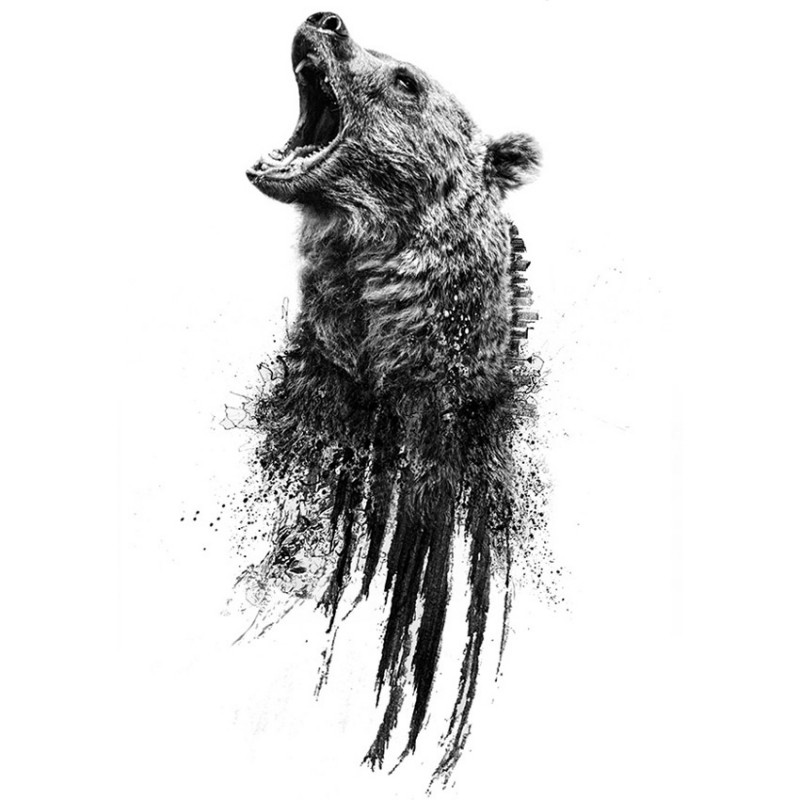 Black-and-white roariong grizzly with smudges tattoo design