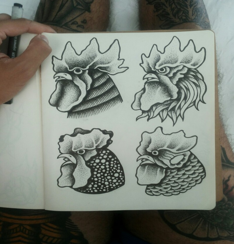 Black-and-white rooster head tattoo designs