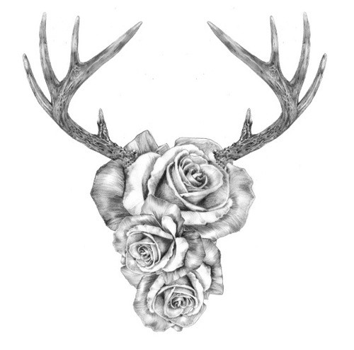 Black And White Rose Buds Face Deer Head Tattoo Design