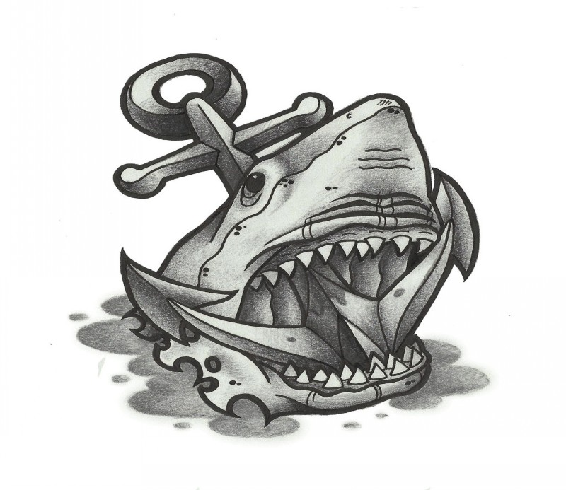 Black And White Shark Anchor Tattoo By Funkt Green