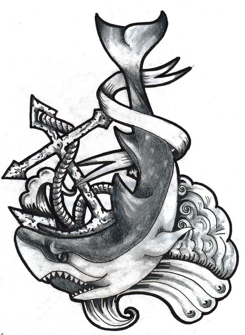 Black And White Shark Anchor Tattoo Design
