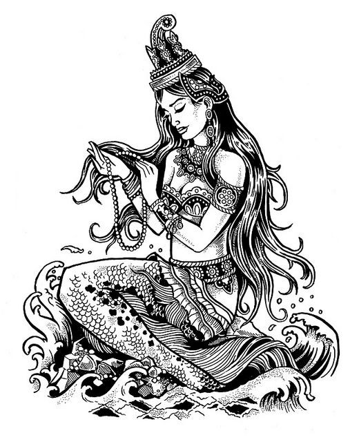 Black-and-white sitting mermaid with indian decorations tattoo design