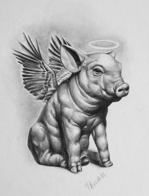 Black-and-white sitting pig angel with wings and nimbus tattoo design