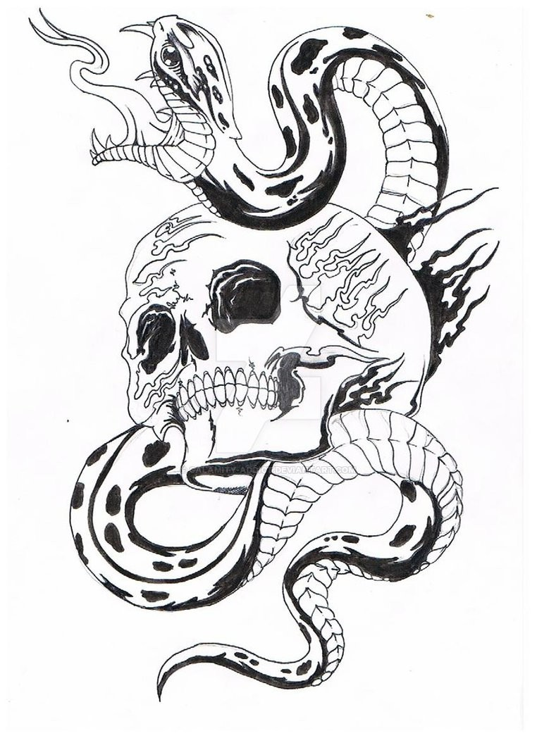 Black And White Snake And Fire Patterned Skull Tattoo