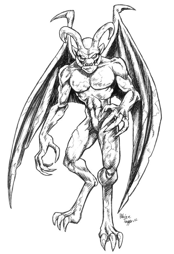 Black-and-white standing gargoyle with long devil horns tattoo design by Staino