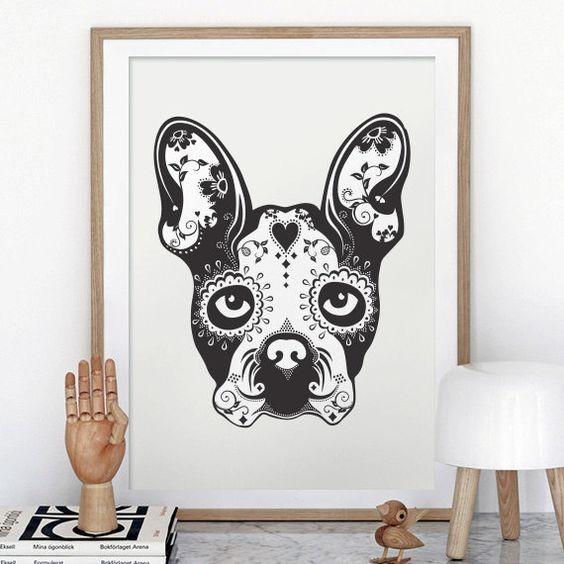 Black-and-white sugar skull bulldog face tattoo design