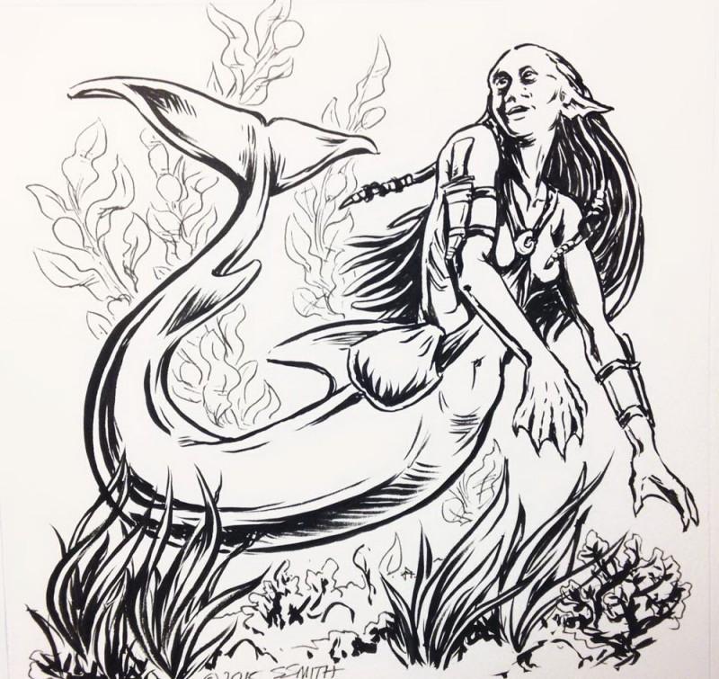 Black-and-white surprised mermaid diving on sea bottom tattoo design