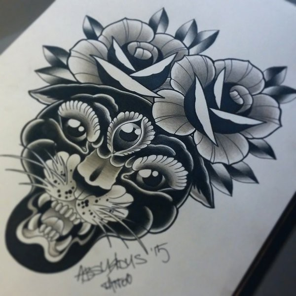 Black-and-white three-eyed panther with roses tattoo design by Absurdus666