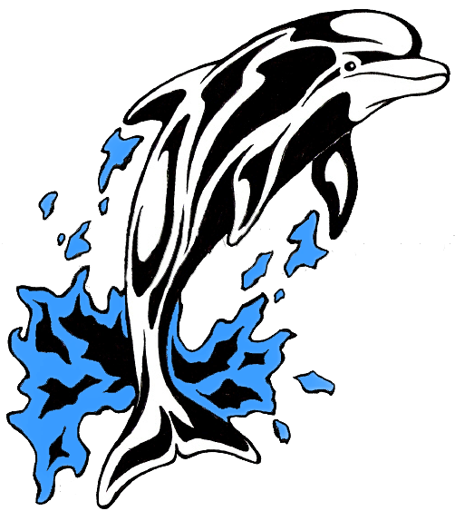 Black-and-white tribal dolphin jumping from blue puddle tattoo design
