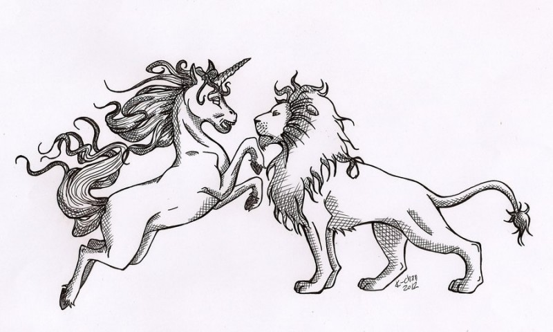 Black-and-white unicorn and lion fight tattoo design