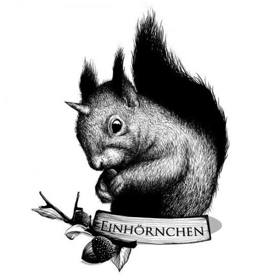 Black-and-white unicorn rodent with acorn and banner tattoo design