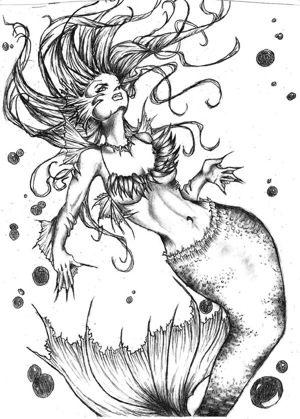Black-and-white unselfconscious mermaid among black spots tattoo design