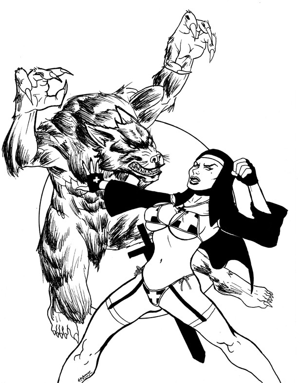 Black-and-white werewolf and naked nun fight tattoo design by Mdjc