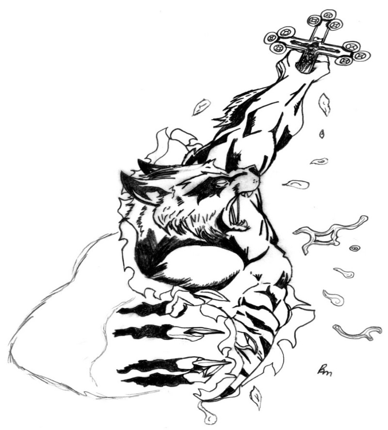 Black-and-white werewolf keeping a cross tattoo design by Ram Horn