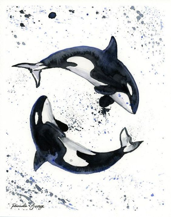 Black-and-white whale yin yang with watercolor splashes tattoo design