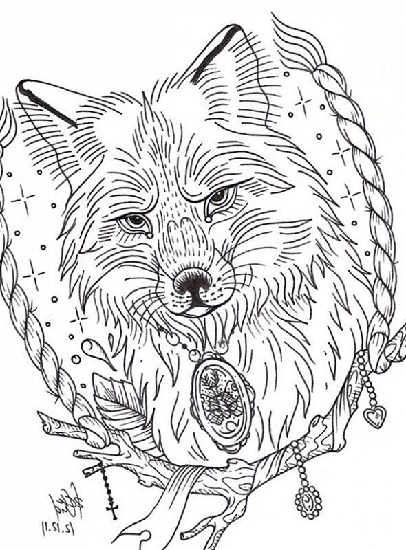 Black-and-white wolf portrait in rope frame tattoo design