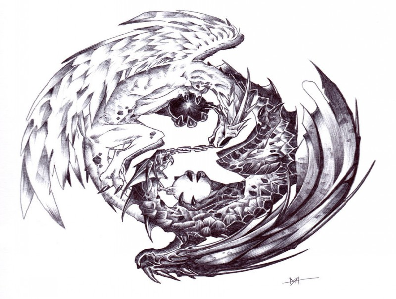 Black-and-white yin yang dragons with balls tattoo design by Moog Lee