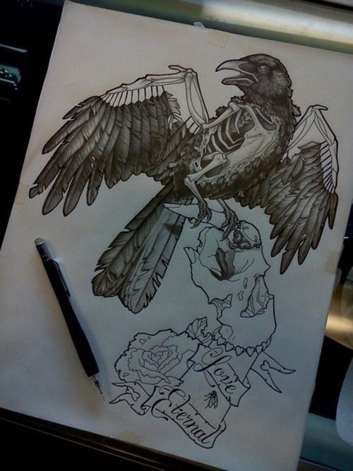 Black-and-white zombie hand keeping a huge raven on finger tattoo design tattoo design