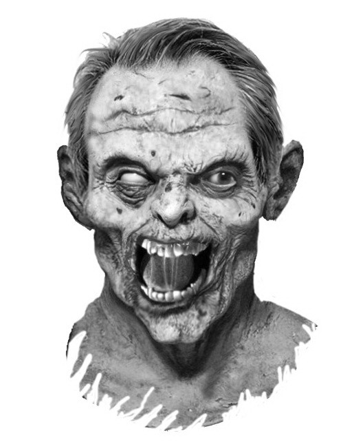 Black-and-white zombie man face tattoo design