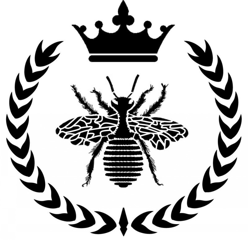 Black-color bee with laurel wreath and huge crown tattoo design