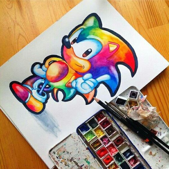 Black Contour Rainbow Watercolor Sonic The Hedgehog Tattoo Design Tattooimages Biz