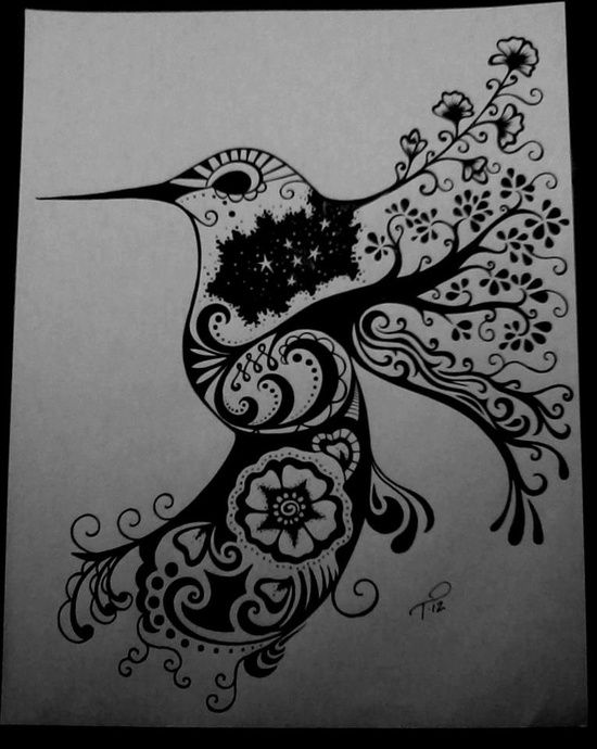 Black-eyed hummingbird with flowered wings and tail tattoo design