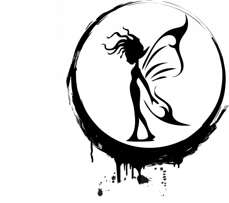 Black-ink cartoon fairy framed with melting circle tattoo design