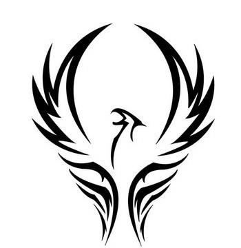 Black-ink celtic phoenix tattoo design