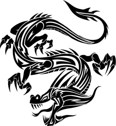 Black-ink chinese reptile tattoo design
